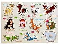 Dream's Tail 子供 ペグパズル 図形 型はめ 頭の体操 知育玩具 右脳訓練 幼児教育 数字 計算 英会話 木のおもちゃ 全22種 (動物英語)