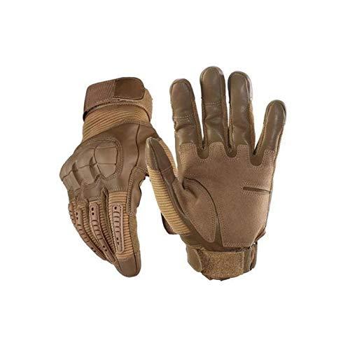 Guantes tácticos: pantalla táctil indestructible para motocicleta, guantes cálidos impermeables para dedos completos para escalada, acampada, senderismo, trabajo, deportes al aire libre L Marrón