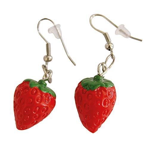 Amakando Hübsche Erdbeer-Ohrringe für Damen / Grün-Rot / Niedlicher Ohrschmuck Früchtchen / Wie geschaffen zu Fasching & Mottoparty