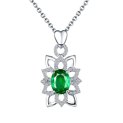 AtHomeShop Real Gold Collection, 18K White Gold Necklace, 1.3ct Oval and Flower Shape Women's Necklace with Sparkling 1.3ct Oval Emerald and Diamond Pendant for Mother Girlfriend, Silver Green