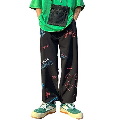 WBNCUAP Hombre Pantalones Hombres Hombres Sueltos Joggers Imprimir Streetwear Harem Pantalones Ropa Tobillo Largo Pantalones (Color : H46Black, Size : Large)