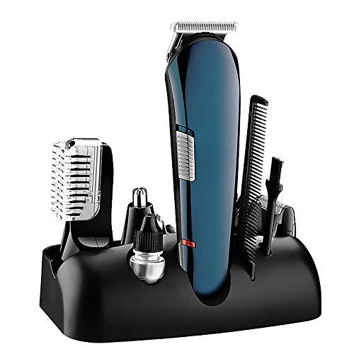 Tondeuse professionnelle cheveux, 5-in-1 multi-fonction rechargeable Nez rasoir, rasoir électrique, tondeuse homme Tondeuse à cheveux adultes du ménage Set (bleu)