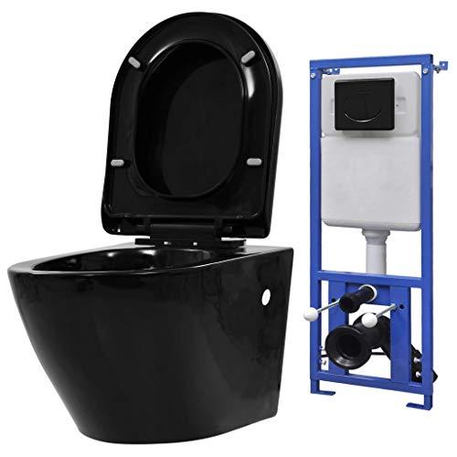 vidaXL Hänge Toilette mit Unterputzspülkasten Spülkasten Spülrandlos Absenkautomatik Soft Close Sitz Wand Spülkasten WC Vorwandelement Keramik Schwarz