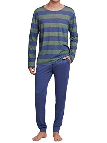 Seidensticker Herren Langer Schlafanzug Pyjama Lang - 165997, Größe Herren:110, Farbe:Jeansblau