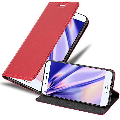 Cadorabo Hülle für Xiaomi Mi 5 in Apfel ROT - Handyhülle mit Magnetverschluss, Standfunktion & Kartenfach - Hülle Cover Schutzhülle Etui Tasche Book Klapp Style