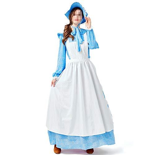kMOoz Cosplay kostuum, halloween Outfit,kids Halloween Heks Fancy Adress Kostuum Cosplay Halloween Feest, volwassen meid jurk blauwe jurk Lady Pioneer Trailblazer Farm Kostuum
