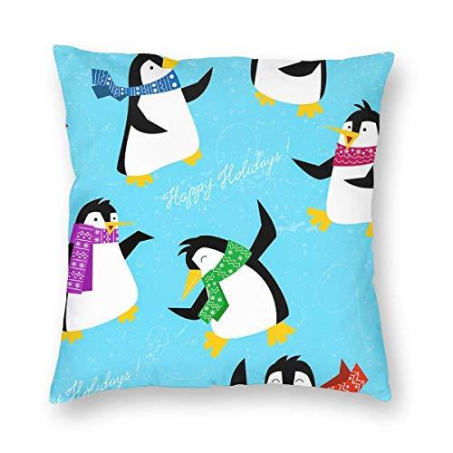 Mesllings katoenen linnen gooien kussenslopen, Xmas pinguïns in een heldere sjaals dansen op ijs, kussenslopen decoratieve 18x18 in kussenslopen kussenslopen met rits