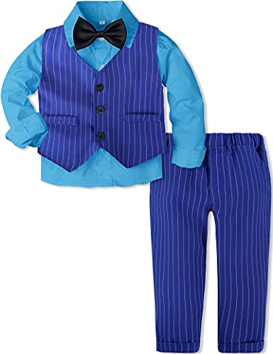 A&J DESIGN Baby Boys Gentleman Outfit Tuxedo Suit Set Royal Blue 12-18 Months