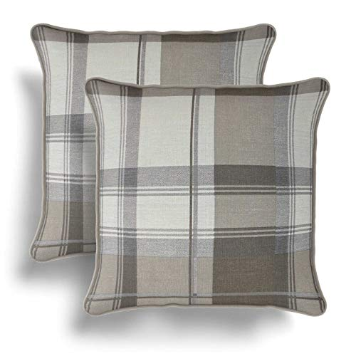 IT IDEAL TEXTILES Set of 2 Natural Tartan Cushion Covers, Pair of Beige Checked Design Cotton Cushion Covers, Piped Trim Cushion Cases, Sofa Chair Throw Pillow Cases, 17' x 17', 43cm x 43cm