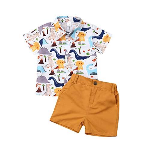 Bebé Niño Traje de 2 Piezas Conjunto Top Camisa de Manga Corta Pantalón Corto Camiseta con Estampado Infantil Ropa Verano de Playa para Vacaciones (Dinosaurio, 1-2 Años)