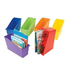 Keep classroom or library books accessible neat and organized with these durable plastic book bins Whether you're a teacher who's a classroom organizer or a parent who likes to keep bookshelves and rooms neat and tidy you'll appreciate these storage ...
