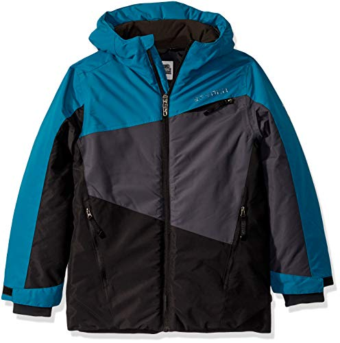 Spyder Boys' Big City to Slope Full Zip Hooded Jacket with Poly Fill, swell, Medium (10/12)
