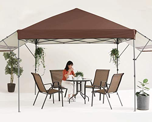 MASTERCANOPY 10x10 Pop-up Gazebo Canopy Tent with Double Awnings Brown
