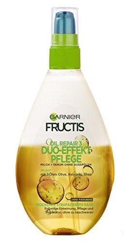 Garnier Fructis Duo-Effekt Pflege Oil Repair Haarkur / Intensiv Haaröl zum Sprühen ohne Ausspülen (mit wertvollen Natur-Ölen – für trockenes, strapaziertes Haar) 1er Pack - 150ml
