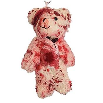 Halloween Keychain Doll Horror Stuffed Toy Keychain Pendant Bloody Injured Bear Keyring Pendant