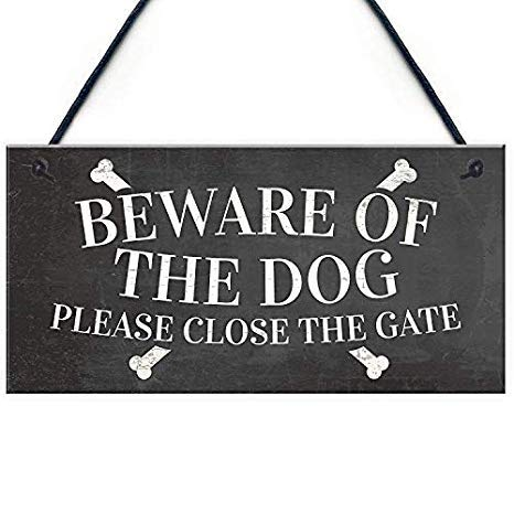 Not Branded 15x30cm Beware of The Dog Warning Garden Gate House Door Hanging Outdoor Gift Wood Sign Wall Decor Garden Signs and Plaques 811462