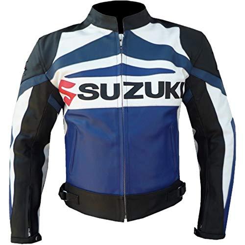 Suzuki Motorradjacke aus Rindsleder, Größe L, Blau