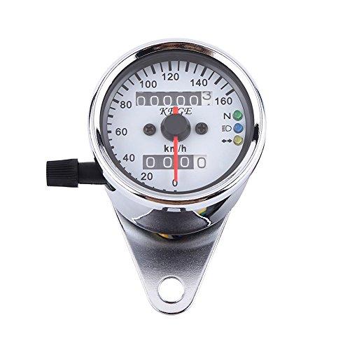 Motorrad Tacho Odometer LED Digital Tachometer Messgerät Hintergrundbeleuchtung Signallicht Tachometer Geschwindigkeits Lehre 2 Farben ( Farbe : Sliber )