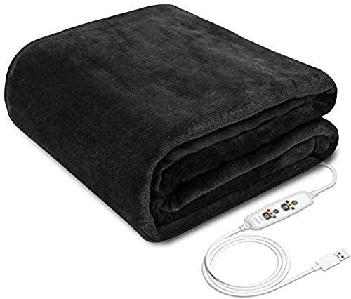 XIYUN USB 80x45cm Electric Heating Blanket Shawl Washable 3 Heat Settings With Timing Function Car Home Winter Warm Heated Blanket Black