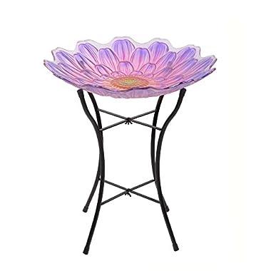Peaktop Outdoor 18  Flower Glass Birdbath w/Metal Stand - Pink and Purple