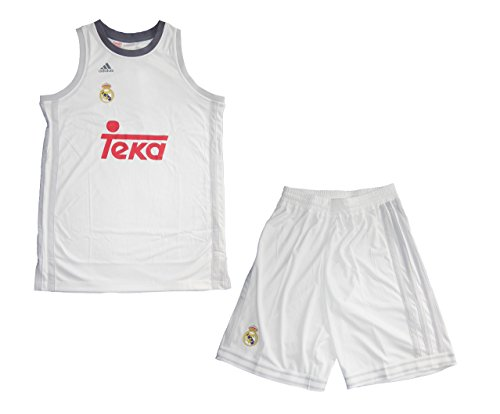 adidas Real Madrid Basketball Kinder Trikot Set Minikit 2015/16, Weiß/Gelb/Rot, 164, 4056558534791