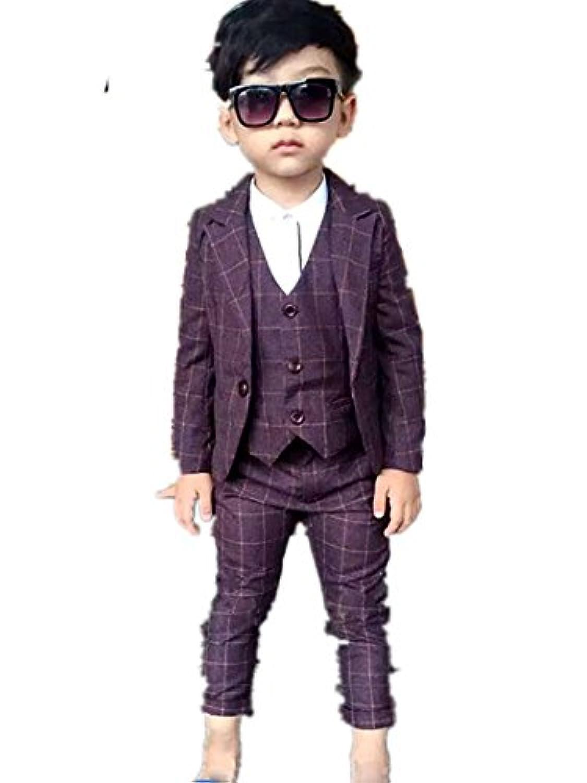 子供スーツ キッズ服 男の子衣装 ズボン、コート、ベスト パープル 卒業式/入園式/発表会/七五三/フォーマル 90~130cm