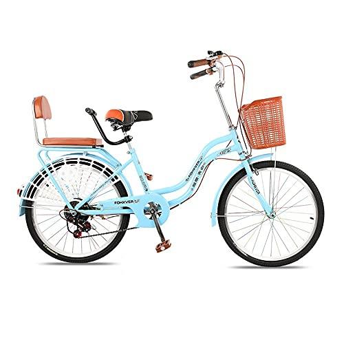 Bicicleta, Bicicleta de Viaje de Moda Retro de 6 Velocidades, Bicicleta de Ocio de 24 Pulgadas, Marco de Bajo Alcance, Freno de Disco Doble, para Trabajadores de Oficina/Estudiantes/B /