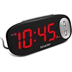 SHARP Digital Alarm Clock - Easy to See Large Red LED Display - 2 Ultra Fast Charging USB Charge Ports – 2X as Fast as Conventional USB Chargers – Simple to Set – Simple to Use