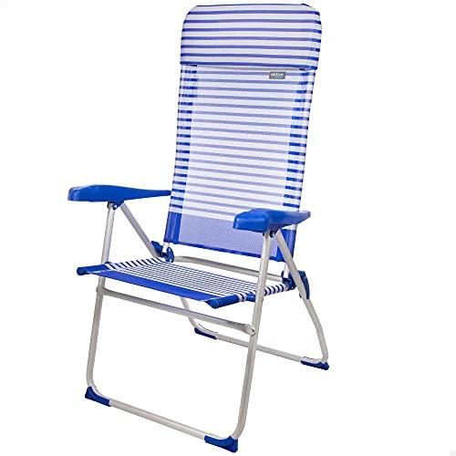 Aktive 53982 - Sillas de playa plegables resistentes, Silla para la playa, 64x61x118 cm, respaldo reclinable, 7 posiciones, aluminio y textileno, tacos antivueclo, Aktive Beach