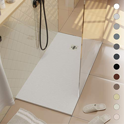 Crocket Plato de Ducha de Resina 80 x 110 Ebro - Textura Pizarra y Antideslizante - Acabado Brillo - Todas Las Medidas Disponibles - Incluye Sifón y Rejilla - Blanco RAL 9003