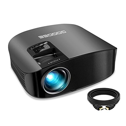 "Projector, GooDee 2021 Upgrade HD Video Projector Outdoor Movie Projector, 230"" Home Theater Projector Support 1080P, Compatible with Fire TV Stick, PS4, HDMI, VGA, AV and USB (Renewed)"