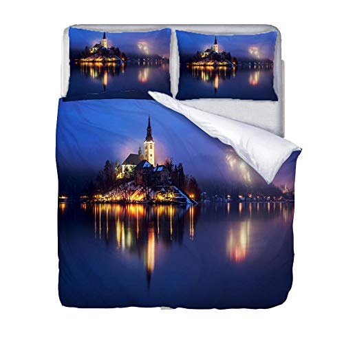 Printed Duvet Cover King bed Blue castle fireworks Children's rooma and bedroom Bedding boy girl Soft 3 pcs set Easy Care Duvet Cover Set with Zipper Closure
