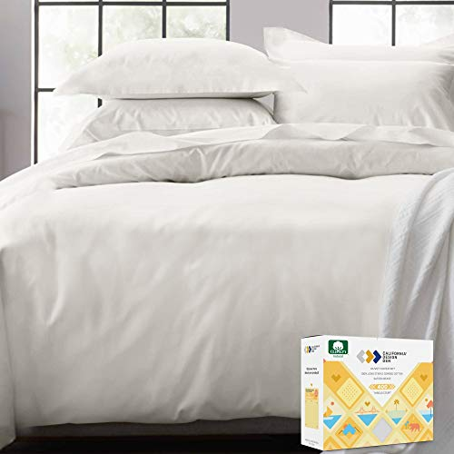 Hotel Luxury 3pc Duvet Cover Set Premium 100 % Cotton Duvet Cover in Full / Queen Size Ivory with Button Closure - Long-Staple Combed Cotton Soft, Silky & Breathable Set