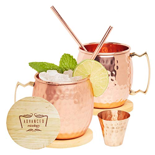 Advanced Mixology Moscow Mule Copper Mugs - Set of 2-100% HANDCRAFTED - Pure Solid Copper Mugs 16 oz Gift Set with BONUS: Artisan Wooden Coasters, Cocktail Copper Straws, and Shot Glass!