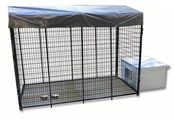 Cove Products K9 Condo 4' X 8' Dog Run with Insulated Cube Dog House Combination-Ultimate