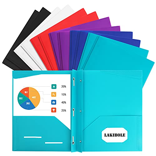 12 Pack Plastic 2-Pocket Folders with 3 Prongs and Card Holder Letter Size, Heavy Duty Plastic Folders for Office School Folder, Assorted Fashion Colors