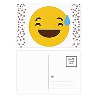 厄介な黄色のかわいい素敵なオンラインチャット絵文字イラストパターンの笑い クリスマスの花葉書を20枚祝福する