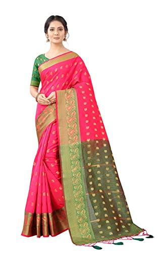 Jay Maruti Creation Banarasi Silk Woven Zari Butta Saree with Blouse Piece (Pink)