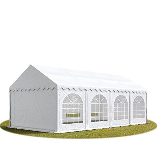 TOOLPORT Carpa de Fiesta 4x8 m Lona PVC Aprox. 500g/m² 100% Impermeable con Estructura de Suelo Blanco
