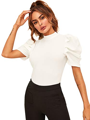 Floerns Women's Frill Neck Puff Sleeve Solid Tee Blouse Tops White-2 XL