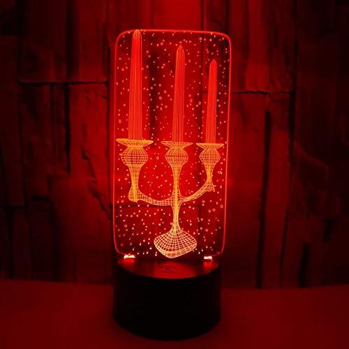 Luz Nocturna 3D Porta Vela Lámpara De Ilusión Óptica Led Para Niños, 16 Colores De Iluminación Lámpara De Mesa De Noche Para La Decoración Del Partido Presentes De Cumpleaños