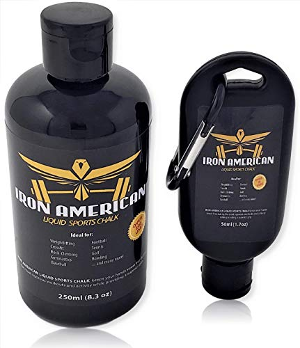 IRON AMERICAN Liquid Sports Chalk, 8.3 oz + 1.7 oz Travel Bottle Value Combo Pack, Long Lasting Strong Grip for Training Gymnastics Rock Climbing Bouldering Weight Lifting Crossfit