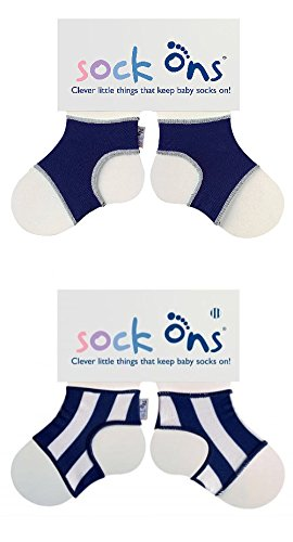 Sock Ons Lot de 2 paires de chaussettes 6-12 mois Bleu marine à rayures
