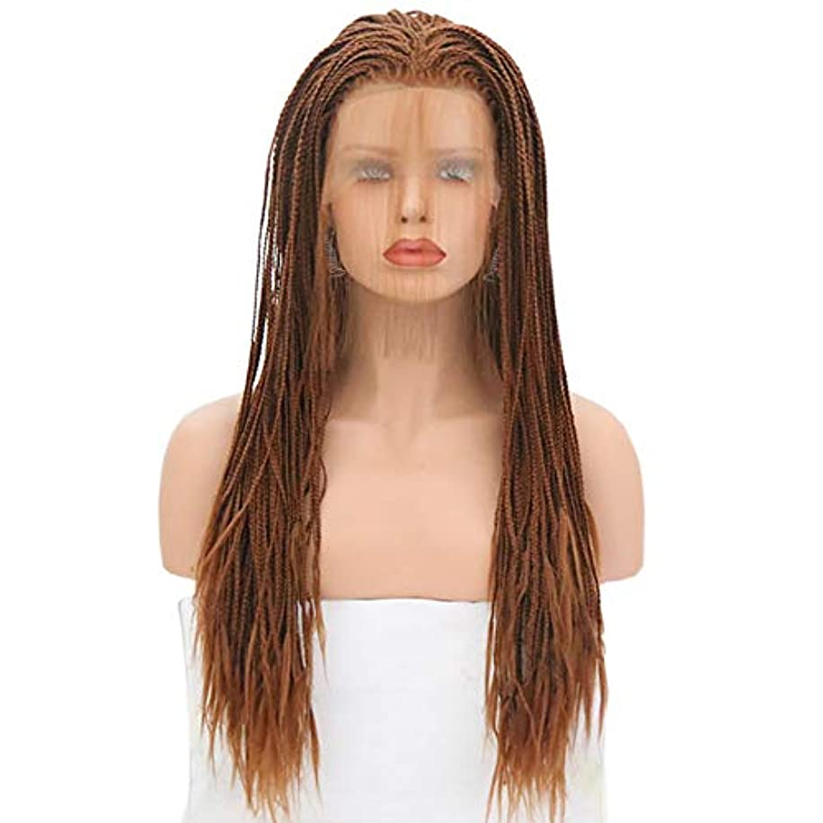 Micro Braided Lace Front Wigs Fully Hand Tied Synthethic Hair Braided Heat Resistant Hairs Wigs Free Part with Baby Hair for Black Women Copper Red Cornrow Braid Wigs (Red Brown)