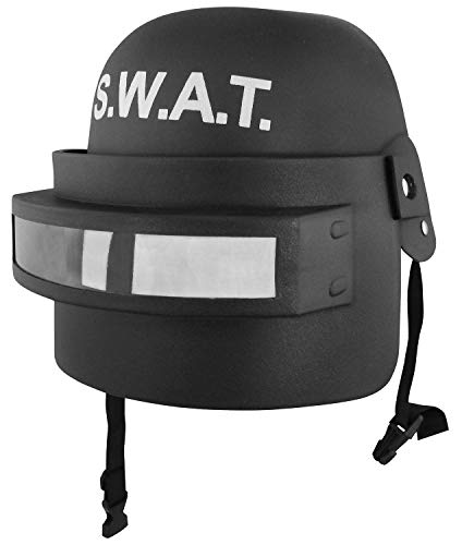 S.W.A.T. Team Costume Helmet with Folding Face Mask. Black, One Size