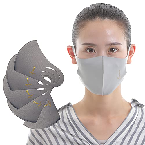 ミオナ エアーシルクマスク 5枚セット ふつうサイズ(男性向け) グレー MIONA AIRSILKMASK UVカット 紫外線対策 伸縮素材でお顔にフィット 飛沫防止 耳が痛くなりにくい 個包装 低ホルムアルデヒド商品