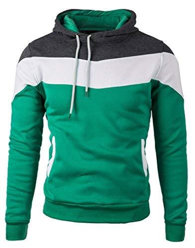 Mooncolour Mens Novelty Color Block Hoodies Cozy Sport Autumn Outwear (Large, 163_Green)