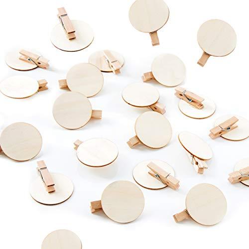 Logbuch-Verlag 24 Holzklammern Natur mit runder Scheibe 4 cm aus Holz Dekoklammer beschreibbar basteln DIY Namensschild Deko Hochzeit Tischkarte
