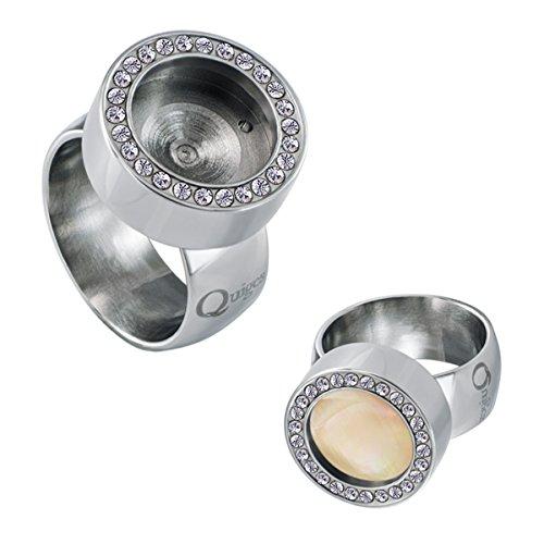 Quiges Edelstahl Wechselbare Mini Coin Münze Solitär-Ring Damen Silber Glänzend mit Zirkonia Durchmesser 18mm