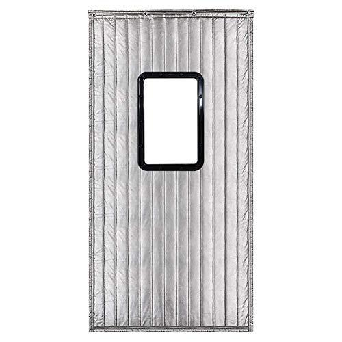ZXL deurgordijn, warmte-isolerend, winddicht, warmhoudfunctie, ingang met venster, vulling van vilt met polyurethaan coating (kleur: A, grootte: 100 cm x 200 cm)